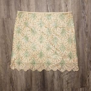 ALYA | Unique Cream Aqua Sequined Seashell Skirt